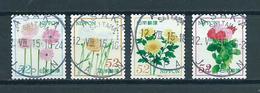 Japan 4x Flowers,fleurs,blümen Used/gebruikt/oblitere - Gebruikt