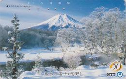 Télécarte Japon / NTT 250-092 - MONT FUJI Sous La Neige TBE - Mountain Japan Phonecard - Berg Telefonkarte - Montagnes