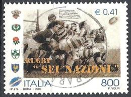 """Italia, 2000 Torneo Di Rugby """"Sei Nazioni"""", 800L # Sassone 2451 - Michel 2672 - Scott 2327  USATO - 1946-.. République"""