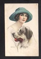 Illustrateur B / Dessin Bianchi / Jeune Femme,chien  ( 3 Feuillets à Recoller Entierement ) - Non Classés