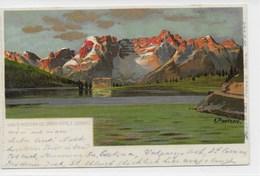 DOLOMITEN  -  LAGO DI MISORINA COL GRAND HOTEL E SORAPIS  ~ 1900  KÜNSTLER AK  A. PAETZOLD - Belluno
