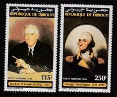PAIRE NEUVE DE DJIBOUTI - F. D. ROOSEVELT ET GEORGE WASHINGTON N° Y&T PA 176/177 - George Washington