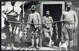 """THEMES - 1916 - Fismes - Photo """"Joli Tableau De Chasse D'une Journée Avec Le Chien Ratier"""" Descriptif Au Verso - B/TB - - Weltkrieg 1914-18"""