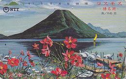Télécarte Japon / NTT 250-101 - MONT FUJI Lac & Fleur Cosmos / TBE - Mountain & Lake Japan Phonecard  Berg & See - Montagnes
