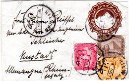 Ägypten 1906, 1+3+5 M. Zusatzfr. Auf 1 M. Ganzsache Brief V. HILWAN N. Bayern  - Stamps