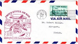 USA 1949, Erstflug Brief V. Washington I.d. Schweiz M. Ski Fahrer Im Cachetstpl. - Hiver
