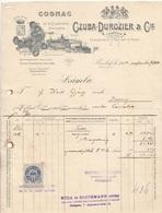 RECHNUNG COGNAC Der Fa. CZUBA 1914 Mit 2 Filler Stempelmarke, A4 Format, Gelocht U.gefaltet - Austria