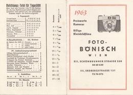 WERBEKALENDER 1963 FOTO BÖNISCH WIEN - Calendriers
