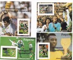 Guyana, 1991, 3489/92 Block 119/22, Gewinner Der Fußball-Weltmeisterschaft 1990, Italien. MNH ** - Guiana (1966-...)