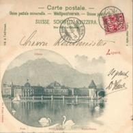 "AK  ""Luzern - Blick Gegen Pilatus""  (Rasierklingenstempel)          1900 - Storia Postale"