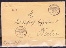 GERMANY 1899 MARINE SCHIFFSPOST COVER TO BERLIN - Deutschland