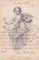 FEMME WOMAN LADYBUG ILLUSTRATION-CPA VOYAGEE 1904 SIGNEE - BLEUP - Illustrators & Photographers