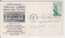 USA 1964 VERRAZANO NARROWS BRIDGE AUTHORIZED CAHET COVER FDC STATEN ISLAND PHILATELIC SOCIETY MAP - Ponti