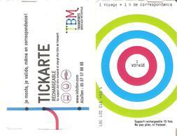 TITRE DE TRANSPORT TICKARTE TRAMWAY BORDEAUX 1 VOYAGE - Tramways