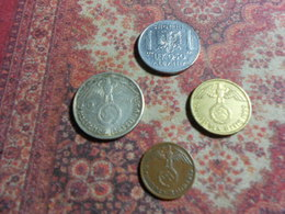 GERMANY    THIRD  REICH   SILVER  BRONZE  IRON  4   COINS  LOT - 2 Reichsmark