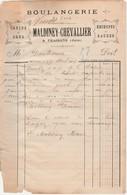 Petite Facture 1904 / Vve MALDINEY CHEVALLIER / Boulangerie / Recoupes & Gaudes / 39 Fraisans Jura - France