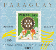 1980 Paraguay Rotary International Souvenir Sheet Complete MNH - Paraguay