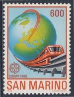 San Marino 1988 Mi 1380 YT 1179 SG 1316 ** Maglev Monorail Train + Globe / Weltkugel, Magnetschwebebahn - Ongebruikt