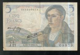 Billet 5 Francs France Berger 22-07-1943 TTB - 1871-1952 Circulated During XXth