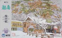 Télécarte Japon / NTT 250-110 - Série Peinture Saison Hiver - TRAIN & Neige - Japan Phonecard - ZUG - Trains