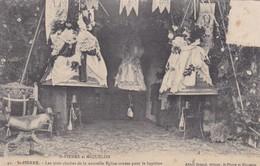 ST PIERRE ET MIQUELON LES TROIS CLOCHES DE LA NOUVELLE EGLISE ORNEES POUR LE BAPTEME. ALFRED BRIAN. CIRCULEE 1908- BLEUP - Saint-Pierre-et-Miquelon