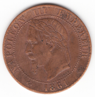 2 Centimes Napoléon III Tête Laurée 1861 BB - B. 2 Centimes