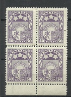 LETTLAND Latvia 1922 Michel 77 As 4-block MNH - Letland
