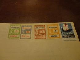 MARCHE DA BOLLO COMUNE DI MAZZARINO- LIRE 5+20+10+4 LIRE + 10 LIRE FEDERAZIONE ITALIANA CONTRO LA TUBERCOLOSI-1957 - Fiscali