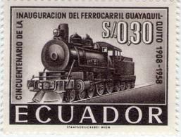 Lote EC101, Ecuador, 1958, Sello, Stamp, 2 V, Ferrocarril Guayaquil - Quito, Train, Locomotive - Ecuador
