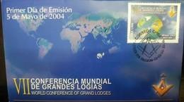 RO) 2004 CHILE, MASONIC -FREEMASONRY  - VII WORLD CONFERENCE OF GREAT LOGIES, NICE FDC - Chile