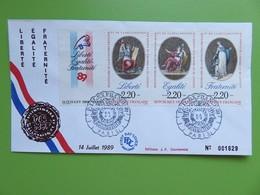 France - Enveloppe PREMIER JOUR FDC 1989 Numérotée - BICENTENAIRE DE LA REVOLUTION FRANCAISE - Philexfrance 89 - 1980-1989