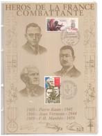 France. 2 Timbres Cachet 1er Jour. 1984 Et 1985. Encart En Hommage à Pierre Kaan, Jean Verneau Et F.H Manhès. Soie - Guerre Mondiale (Seconde)