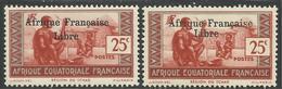 AFRIQUE EQUATORIALE FRANCAISE - AEF - A.E.F. - 1941 - YT 163** - VARIETE SURCHARGE ESPACEE DE 3,5 Mm - A.E.F. (1936-1958)