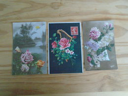 """3 Anciennes Cartes , Carte Avec Bouquet De Fleurs """" Carte Noire En Relief , Carte De 1909 """" - Bloemen"""
