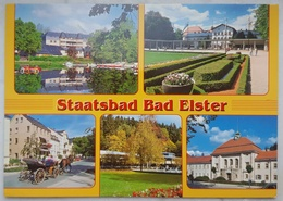 BAD ELSTER - Multiview - Gondelteich Mit Haus Am See - Badeplatz - Fiaker - Badercafé - Albertbad - Vg G2 - Bad Elster