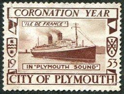UK GB 1953 Plymouth Ship Steamer Liner Île De France Navire Bateau Paquebot Schiff Dampfer Poster Vignette Reklamemarke - Schiffe