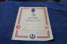 Diplome De La Médaille Commémorative  En Afrique Du Nord 1957 - Dokumente