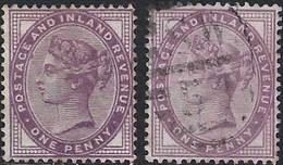 GB 1881 QV 1d Lilac X 2 (1Mint, 1Used) - 1840-1901 (Victoria)