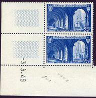 FRANCE 1949 N° 842 ABBAYE DE SAINT WANDRILLE NEUF** SANS CHARNIERE Coin Daté - Dated Corners
