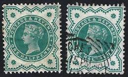 GB 1900 QV Jubilee Colour Change 0.50d Green X 2 (1Mint, 1 Used) - 1840-1901 (Victoria)