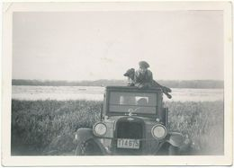 Vintage Snapshot Of Woman With Dog Posing On Top Of Car, ± 1930 - Anonymous Persons