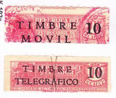 ECUADOR 1936 TOBACCO TAX PRO TRAIN RAILWAY PUERTO BOLIVAR SURCHARGED MOVIL DISPLACED ERROR RED POSTMARK & TELEGRAPH 10 C - Ecuador