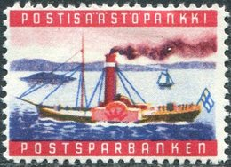 Finland Post Savings Bank Ship Steamship Paddle Steamer Navire Bateau Paquebot Schiff Dampfer Poster Vignette Sparmarke - Ships