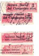 ECUADOR 1936 TOBACCO TAX PRO TRAIN RAILWAY SURCHARGED INSURANCE RURAL WORKERS 3 CENTS ERROR DISPLACED SC# RA32-RA34 - Ecuador