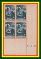 FRANCE 387** - Infanterie 65c + 1.10 F Bleu-vert - Bloc De 4 TP Daté 21.4.38 - Cote 35 € - Coins Datés