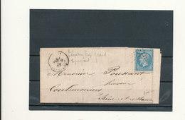 N°22 SUR LETTRE VARIÉTÉ DOUBLE FILET ET TIMBRE TROP GRAND. - 1862 Napoleon III