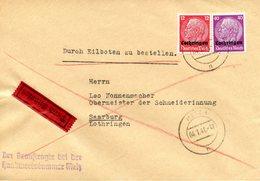 Lettre Par Exprès De Metz Pour Sarrebourg, Datée Du 04/01/1941 - Alsace-Lorraine