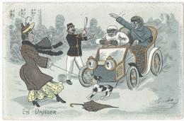 AUTOMOBILE. REIMS (51) CORDELLE. CONSTRUCTEUR-MECANICIEN. 1906. EN DANGER. AGENT De POLICE. CHIEN. - Turismo