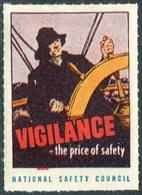 USA Vigilance-the Price Of Safety Sailor Fisherman Steering Wheel Ship Navire Bateau Schiff Poster Vignette Reklamemarke - Bateaux