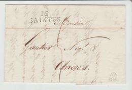 """CHARENTE INFre: """" SAINTES """" Linéaire 30 M/m + TM 5 / LAC De 1820 Pour Angers TB - Marcophilie (Lettres)"""